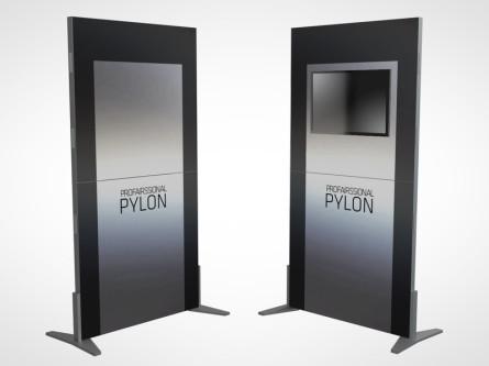 Pylonen mit jeweils zwei Rahmen und portablen Füßen. Damit fangen Sie jeden Kunden ein (links inkl. TV-Halterung).